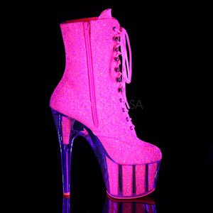 Sexy Devil Neon Pink Glitter Ankle Boots