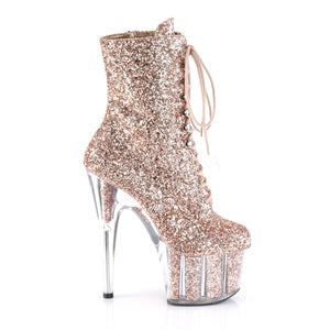 Sexy Devil Rose Gold Glitter Ankle Boots