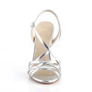 Stiletto Heel Ankle Strap Silver Sandals
