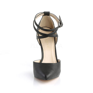 D'Orsay Cross Ankle Strap Black PU Heels