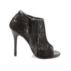 Open Toe Lace Mesh Sexy Black Booties