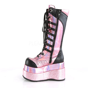 Cyber Goth Knee High Pink Boots