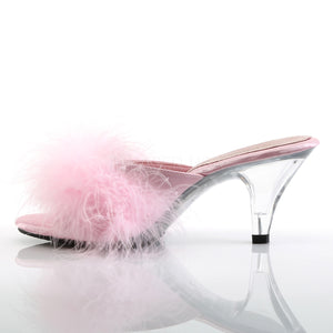 Sexy Marabou Pink/Clear Slippers