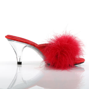 Sexy Marabou Red/Clear Slippers