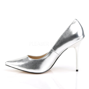 4 Inches Silver Metallic Classic Stilettos