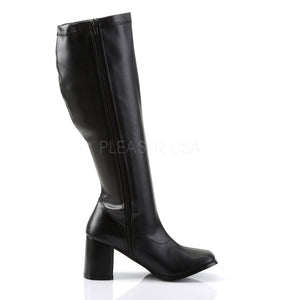 Wide Calf Black PU Gogo Boots