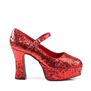 Mary Jane Silver Red Platform Pumps