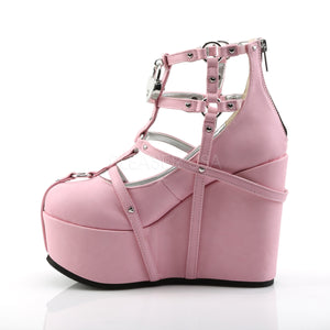 Witch Cage Wedge Pink Boots