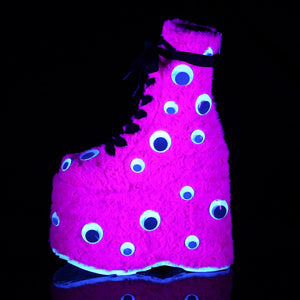 Googly Eyes Fur Boots Pink