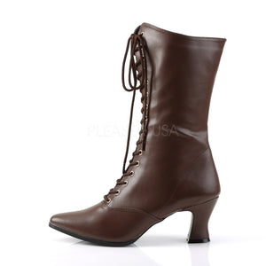 Victorian Mid Calf Brown Boots