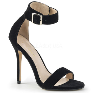 Stiletto Heel Black Velvet Open Toe Sandal