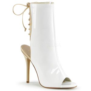 Open Toe White Ankle Boots