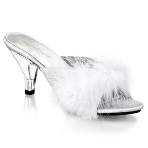 Sexy Marabou White/Clear Slippers