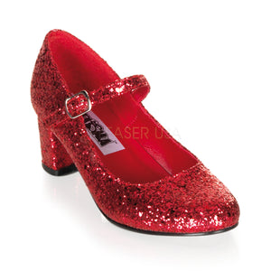Red Glitter School Girl Heels