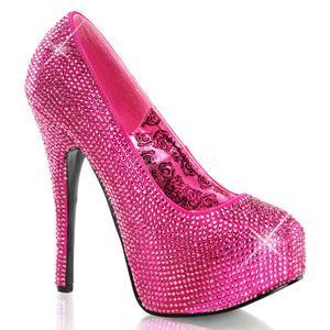 Teeze-06R Hot Pink Rhinestone Pumps