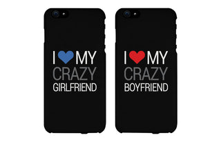 I Love My Crazy Girl & Boy Matching Couple Black Phonecases (Set)