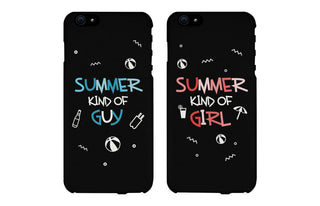 Summer Kind of Guy and Girl Black Matching Couple Phone Cases