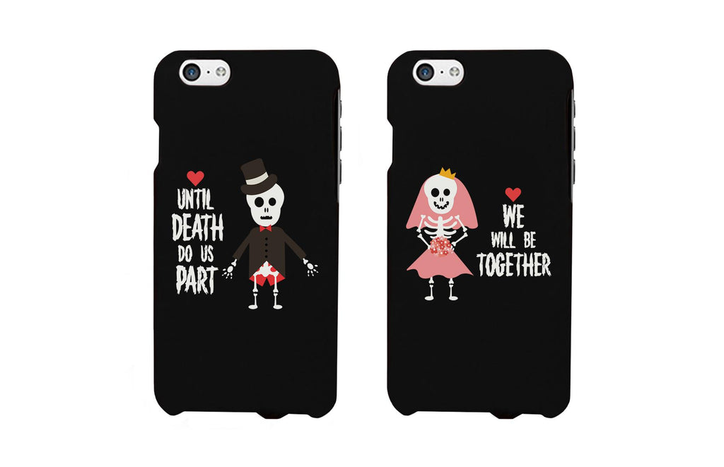 Skeleton Wedding Black Matching Couple Phone Cases Halloween Gifts