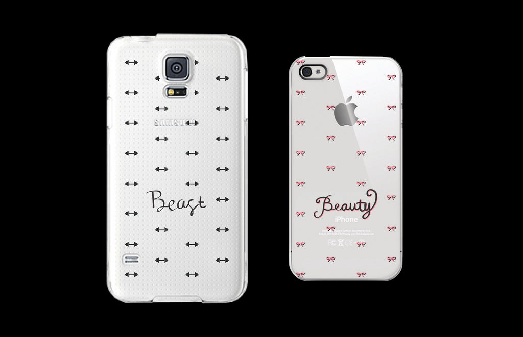 Beauty and Beast Clear Matching Couple Phone Cases Gift for Couples