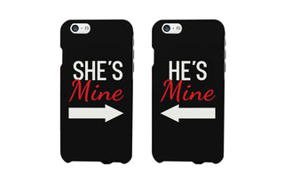 She's Mine and He's Mine Black Matching Couple Phone Cases Valentine's Day
