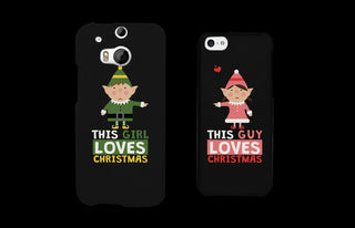 This Girl and Guy Love Christmas Black Matching Couple Phone Cases