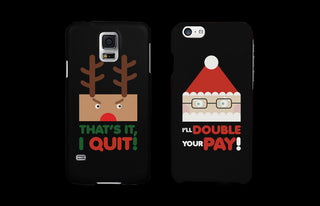 Rudolph and Santa Funny Black Matching Couple Phone Cases Christmas Gifts