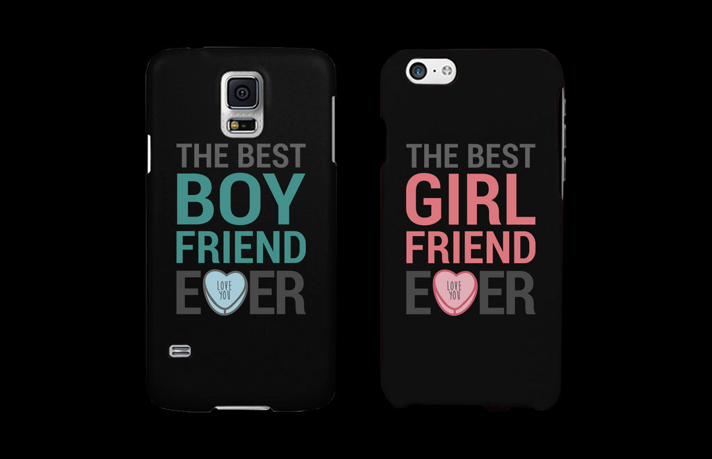 Best Girlfriend and Boyfriend Ever Black Matching Couple Phone Cases