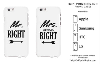 Mr Right and Mrs Always Right Arrows White Matching Couple Phone Cases