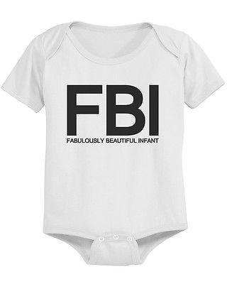 Funny FBI Baby Bodysuit - White Pre-Shrunk Cotton Snap-On Style Baby Bodysuit