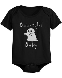 Boo-tiful Baby with Cute little Ghost Bodysuits Halloween Black Snap On Bodysuits