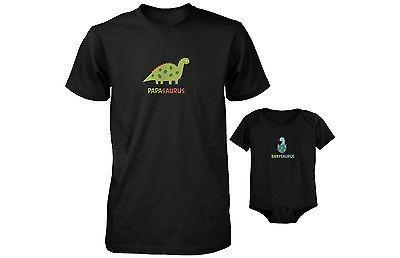 Dad and Baby Matching T-Shirt and Bodysuit Set - Papasaurus and Babysaurus