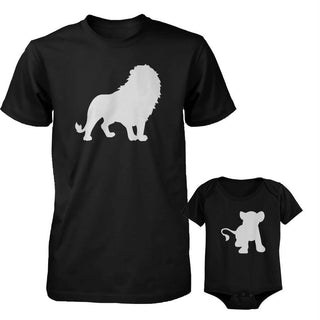 Funny Lion and Cub Matching Dad Shirt and Baby Onesie