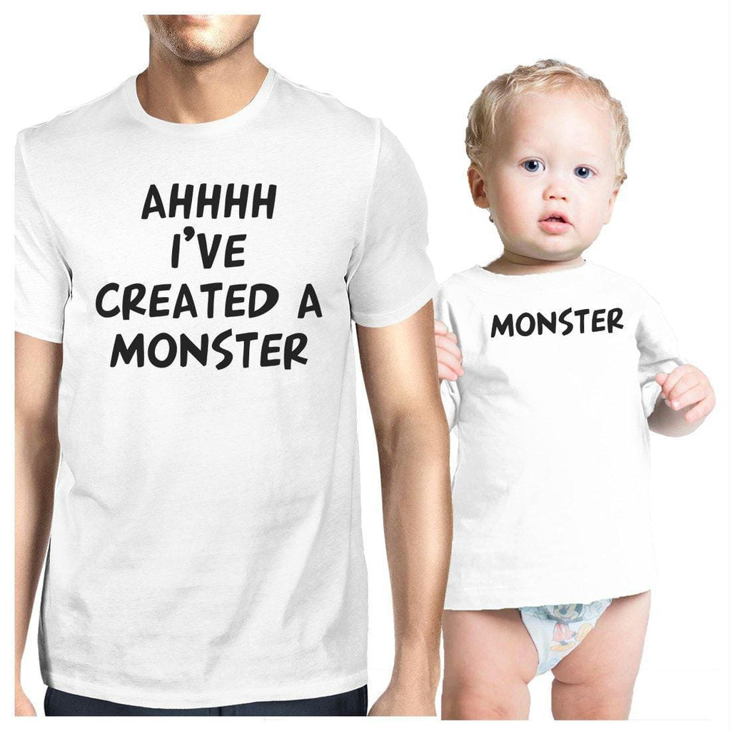 Created A Monster Dad and Baby Matching Gift T-Shirts Father's Day