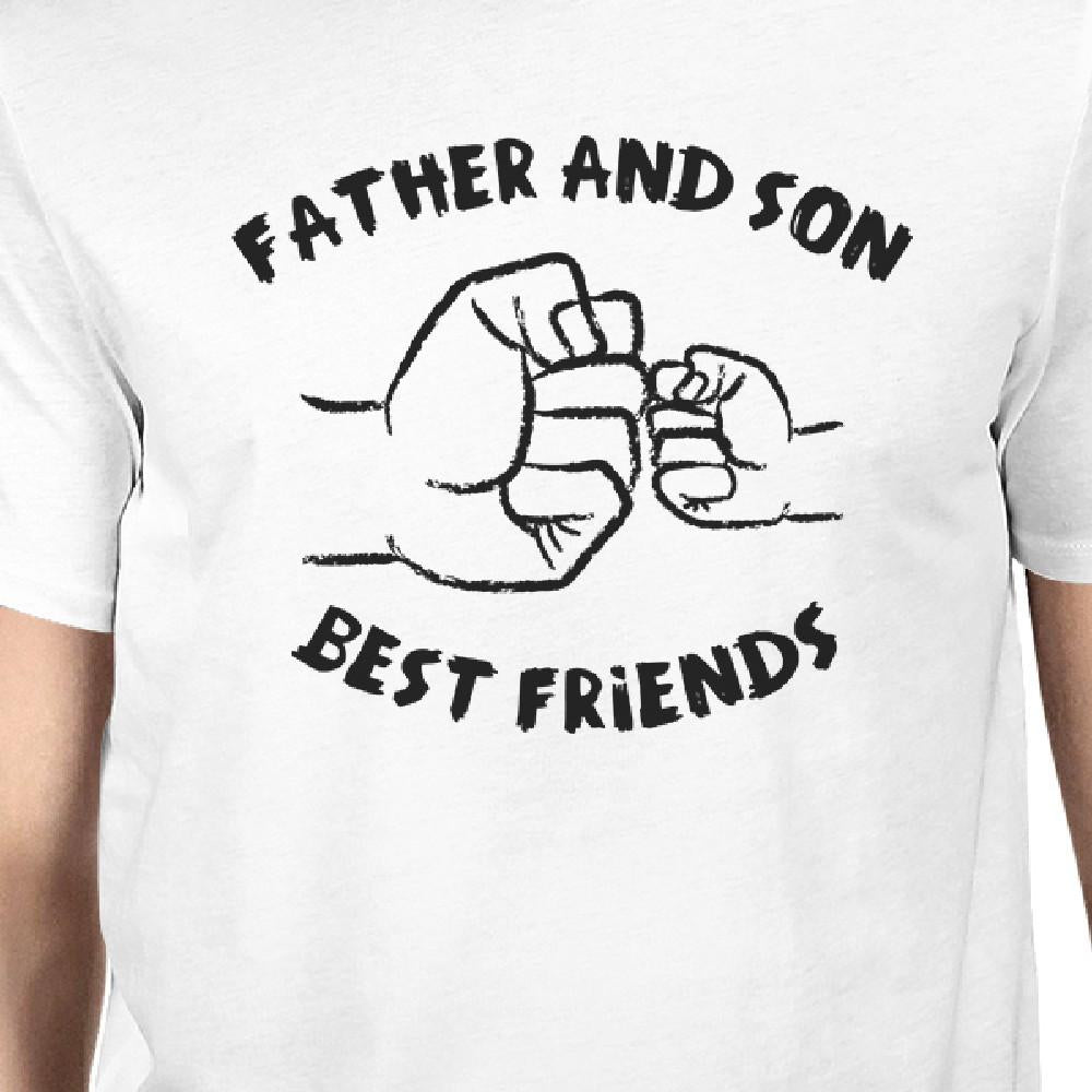 Father And Son Best Friends Fist Pound Dad and Baby Matching White Shirt