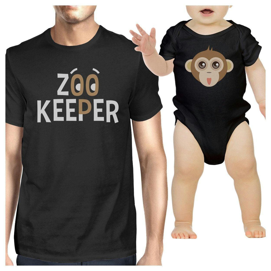 Zoo Keeper Monkey Dad and Baby Matching Black Shirts