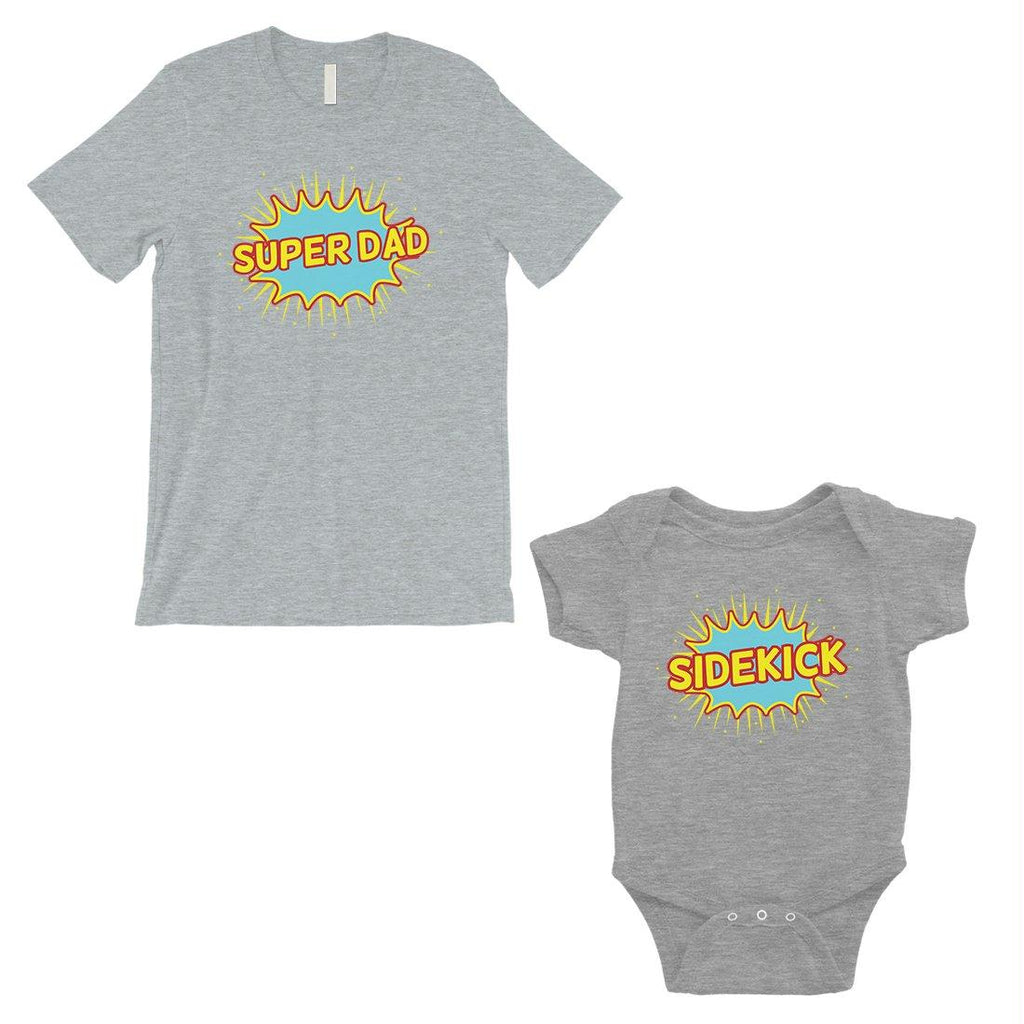Super Dad Sidekick Dad and Baby Matching Outfits Grey