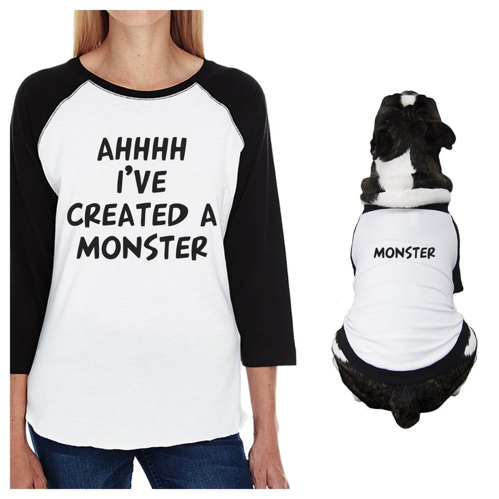 Created A Monster Small Dog and Mom Matching Outfits Raglan Tees