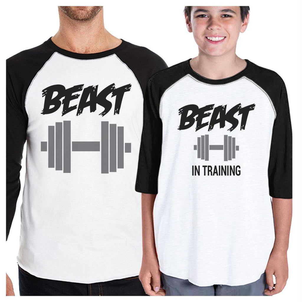 Beast In Training Dad and Kid Matching Baseball Shirts New Dad Gift