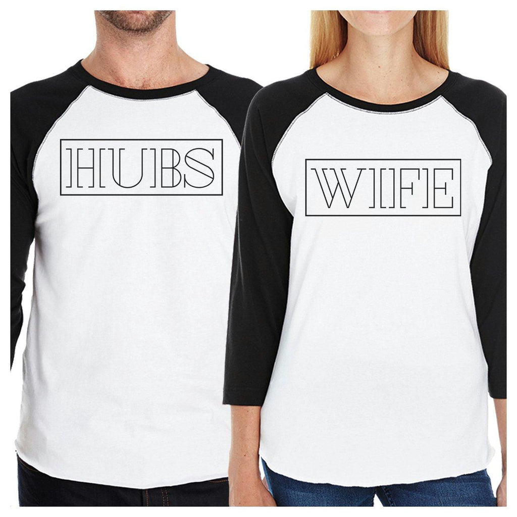 Hubs And Wife Matching Couple Black And White Baseball Shirts