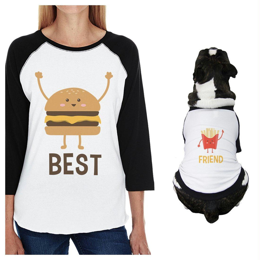 Hamburger And Fries Small Dog and Mom Matching Outfits Raglan Tees