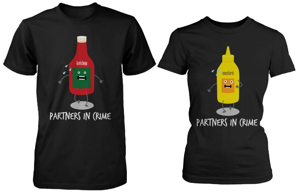 Ketchup & Mustard Partners In Crime Matching Couple Shirts (his & hers Set)