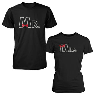 Mr and Mrs Ribbon Matching Couple Shirts Valentine's Graphic Deign