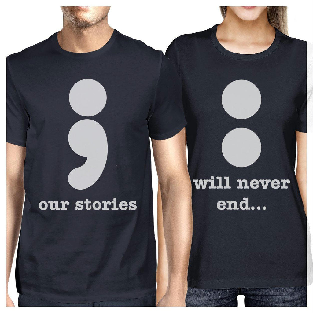 Our Stories Will Never End Matching Couple Navy Shirts