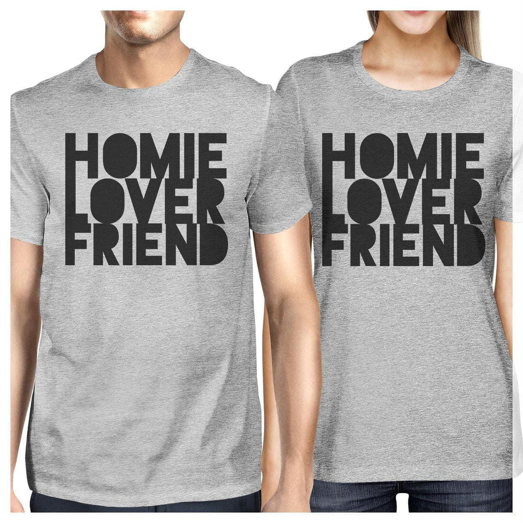 Homie Lover Friend Matching Couple Grey Shirts