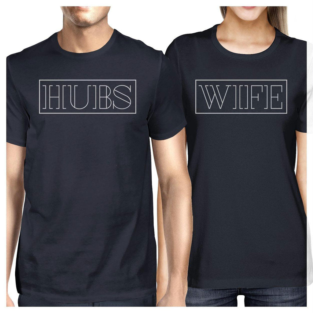 Hubs And Wife Matching Couple Navy Shirts