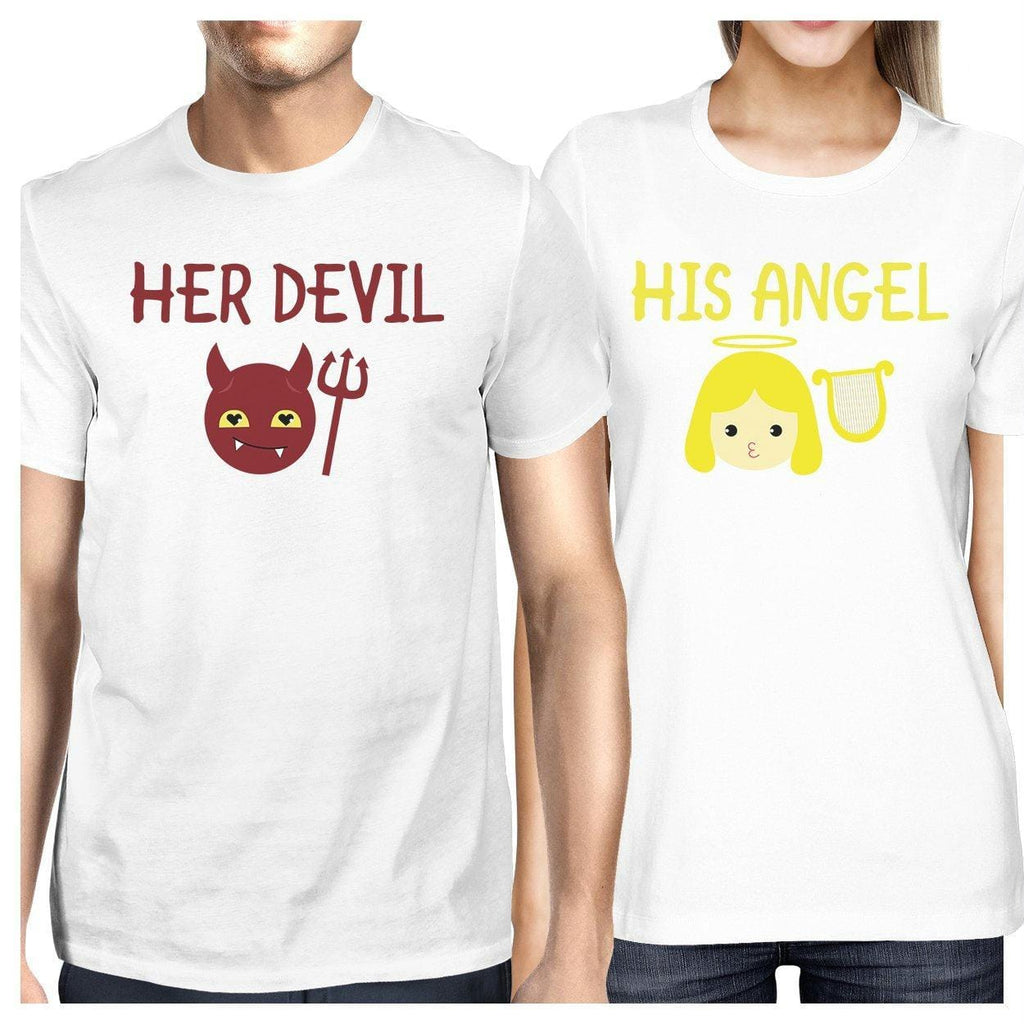Her Devil His Angel Matching Couple White Shirts