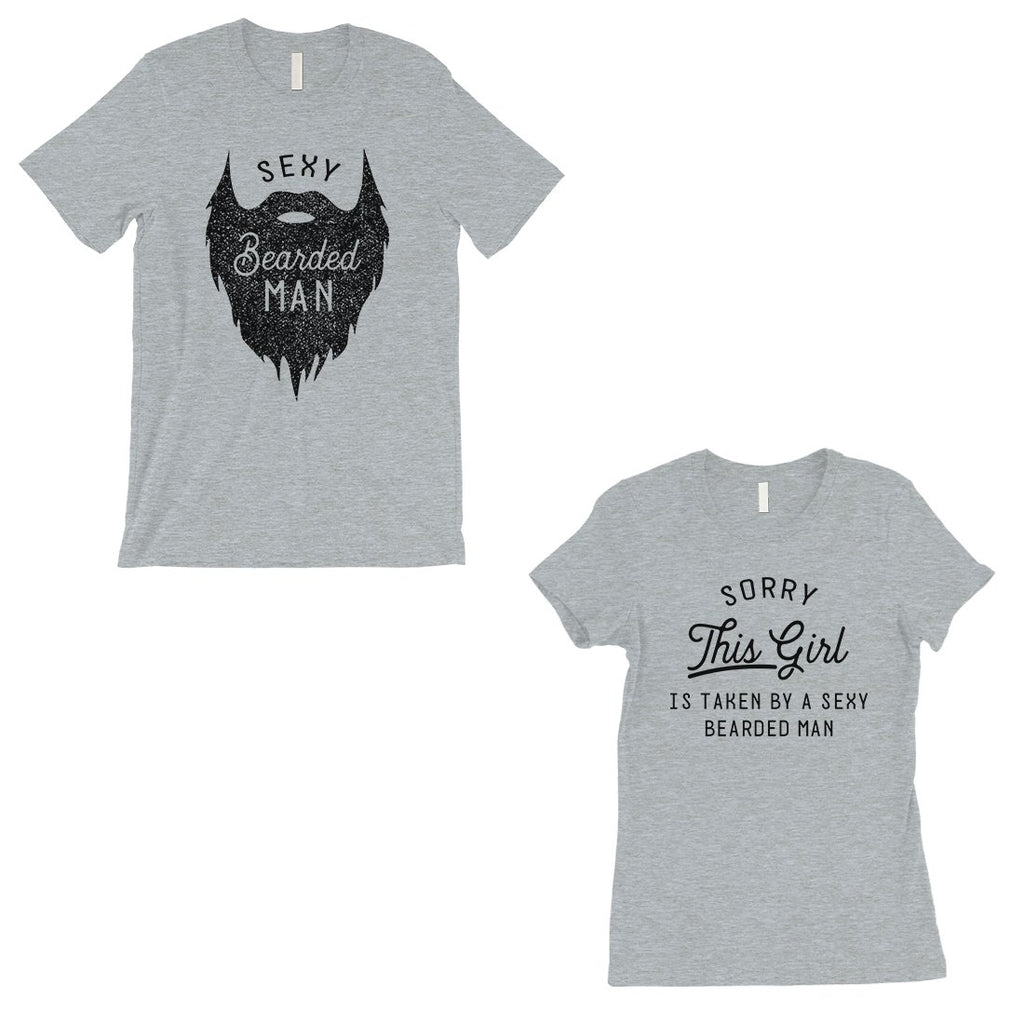 Taken By Sexy Bearded Man Matching Couple Gift Shirts Grey T-Shirt