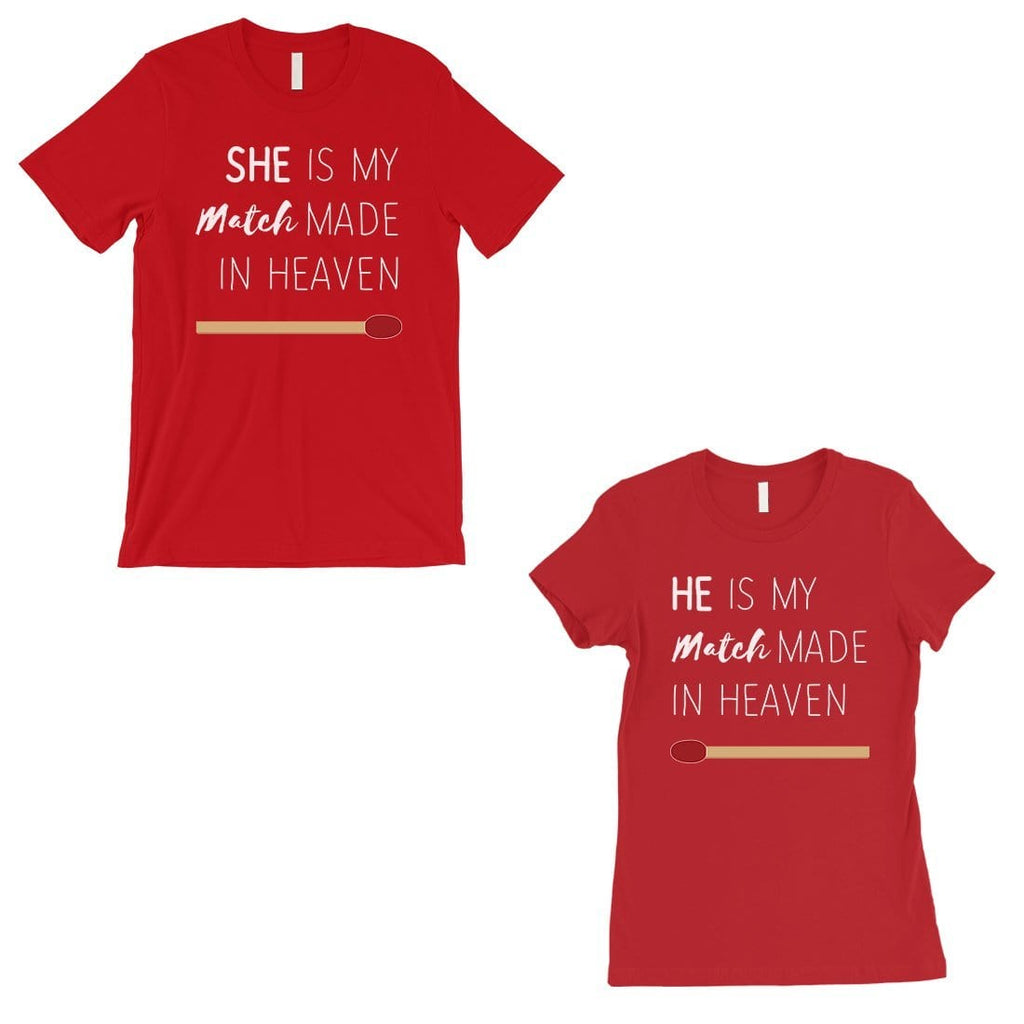 Match Made In Heaven Matching Couple Gift Shirts Red Newlywed Gift