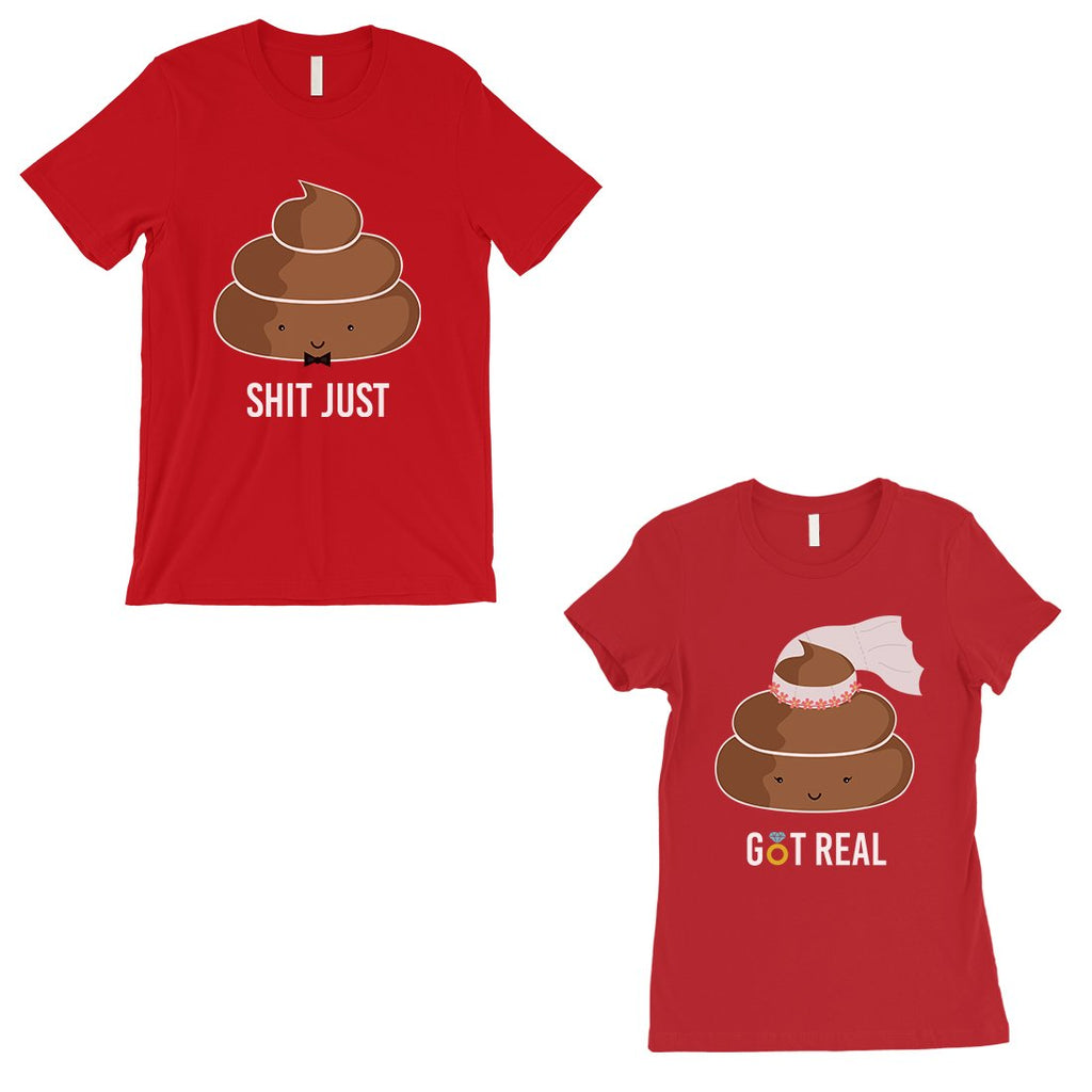 Poop Shit Got Real Matching Couple Gift Shirts Red For Anniversary