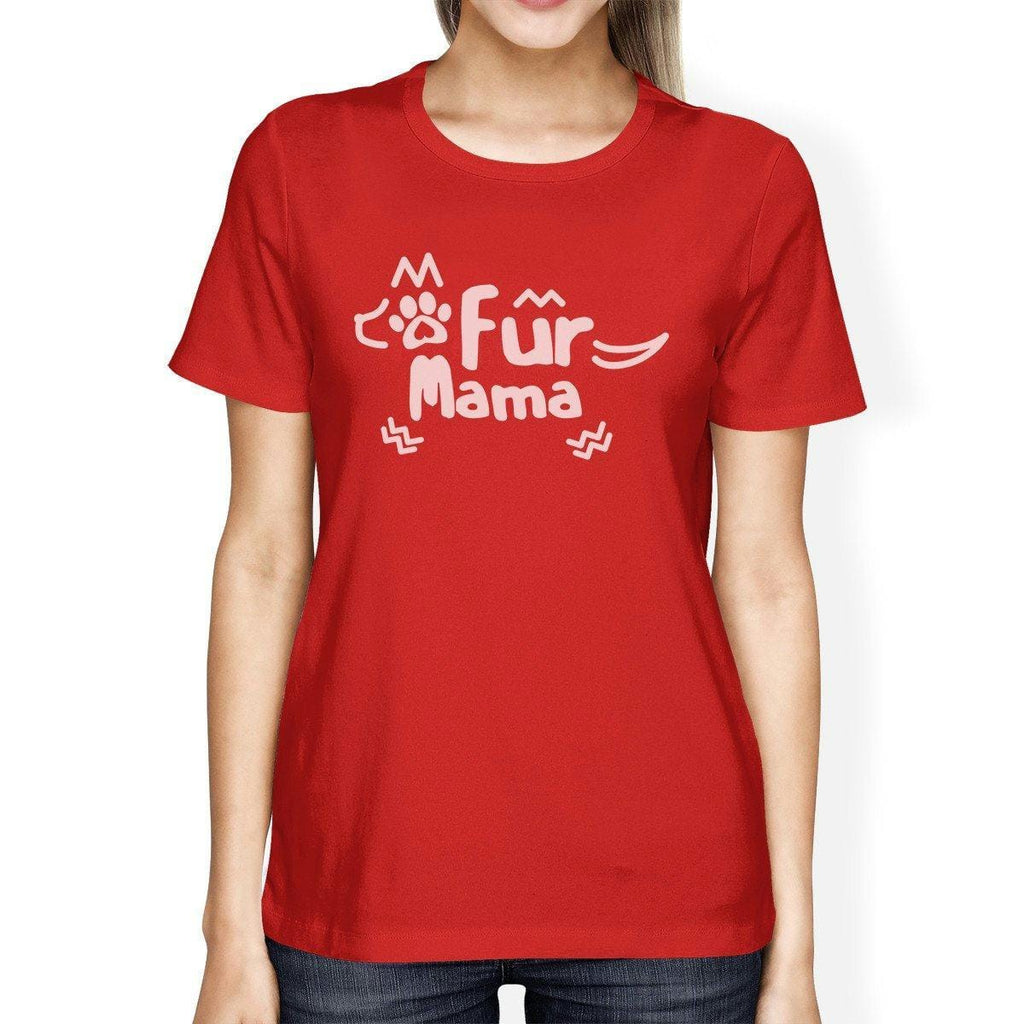 Fur Mama Women's Red Short Sleeve Top Unique Design Graphic T-Shirt